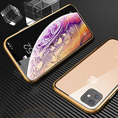Coque Rebord Bumper Luxe Aluminum Metal Miroir 360 Degres Housse Etui Aimant M02 pour Apple iPhone 11 Or