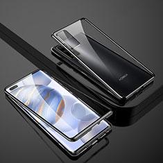 Coque Rebord Bumper Luxe Aluminum Metal Miroir 360 Degres Housse Etui Aimant M02 pour Huawei Honor 30 Pro+ Plus Noir