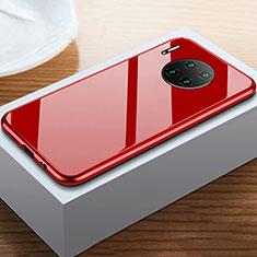 Coque Rebord Bumper Luxe Aluminum Metal Miroir 360 Degres Housse Etui Aimant M02 pour Huawei Mate 30 Rouge