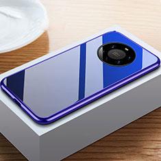 Coque Rebord Bumper Luxe Aluminum Metal Miroir 360 Degres Housse Etui Aimant M02 pour Huawei Mate 40 Pro+ Plus Bleu
