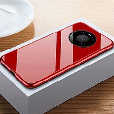 Coque Rebord Bumper Luxe Aluminum Metal Miroir 360 Degres Housse Etui Aimant M02 pour Huawei Mate 40 Pro Rouge