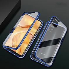 Coque Rebord Bumper Luxe Aluminum Metal Miroir 360 Degres Housse Etui Aimant M02 pour Huawei P40 Lite Bleu