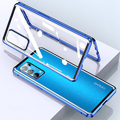 Coque Rebord Bumper Luxe Aluminum Metal Miroir 360 Degres Housse Etui Aimant M02 pour Oppo Reno5 Pro 5G Bleu