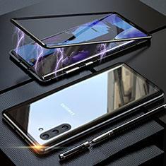 Coque Rebord Bumper Luxe Aluminum Metal Miroir 360 Degres Housse Etui Aimant M02 pour Samsung Galaxy Note 10 Noir