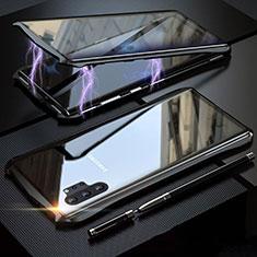 Coque Rebord Bumper Luxe Aluminum Metal Miroir 360 Degres Housse Etui Aimant M02 pour Samsung Galaxy Note 10 Plus 5G Noir
