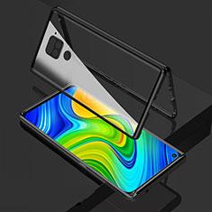 Coque Rebord Bumper Luxe Aluminum Metal Miroir 360 Degres Housse Etui Aimant M02 pour Xiaomi Redmi Note 9 Noir