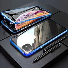 Coque Rebord Bumper Luxe Aluminum Metal Miroir 360 Degres Housse Etui Aimant M03 pour Apple iPhone 11 Bleu