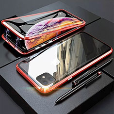 Coque Rebord Bumper Luxe Aluminum Metal Miroir 360 Degres Housse Etui Aimant M03 pour Apple iPhone 11 Rouge