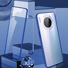 Coque Rebord Bumper Luxe Aluminum Metal Miroir 360 Degres Housse Etui Aimant M03 pour Huawei Mate 30 Bleu