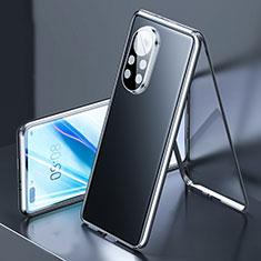 Coque Rebord Bumper Luxe Aluminum Metal Miroir 360 Degres Housse Etui Aimant M03 pour Huawei Nova 8 Pro 5G Noir