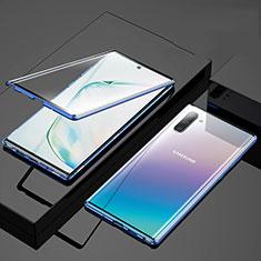 Coque Rebord Bumper Luxe Aluminum Metal Miroir 360 Degres Housse Etui Aimant M03 pour Samsung Galaxy Note 10 Bleu