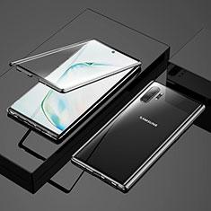 Coque Rebord Bumper Luxe Aluminum Metal Miroir 360 Degres Housse Etui Aimant M03 pour Samsung Galaxy Note 10 Plus Noir