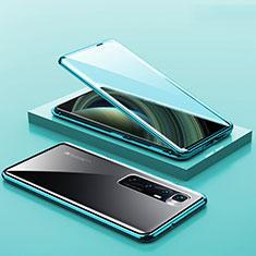 Coque Rebord Bumper Luxe Aluminum Metal Miroir 360 Degres Housse Etui Aimant M03 pour Xiaomi Mi 10 Ultra Cyan