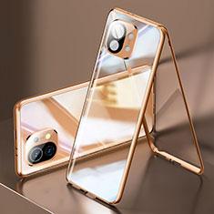 Coque Rebord Bumper Luxe Aluminum Metal Miroir 360 Degres Housse Etui Aimant M03 pour Xiaomi Mi 11 5G Or