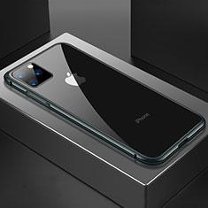 Coque Rebord Bumper Luxe Aluminum Metal Miroir 360 Degres Housse Etui Aimant M04 pour Apple iPhone 11 Pro Max Noir