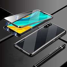 Coque Rebord Bumper Luxe Aluminum Metal Miroir 360 Degres Housse Etui Aimant M04 pour Huawei Enjoy 10e Noir