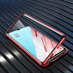 Coque Rebord Bumper Luxe Aluminum Metal Miroir 360 Degres Housse Etui Aimant M04 pour Oppo Find X2 Lite Rouge