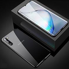 Coque Rebord Bumper Luxe Aluminum Metal Miroir 360 Degres Housse Etui Aimant M04 pour Samsung Galaxy Note 10 5G Noir
