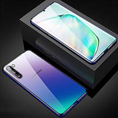 Coque Rebord Bumper Luxe Aluminum Metal Miroir 360 Degres Housse Etui Aimant M04 pour Samsung Galaxy Note 10 Bleu