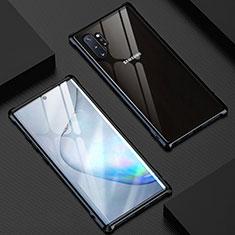 Coque Rebord Bumper Luxe Aluminum Metal Miroir 360 Degres Housse Etui Aimant M04 pour Samsung Galaxy Note 10 Plus Noir