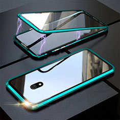 Coque Rebord Bumper Luxe Aluminum Metal Miroir 360 Degres Housse Etui Aimant M04 pour Xiaomi Redmi 8A Vert