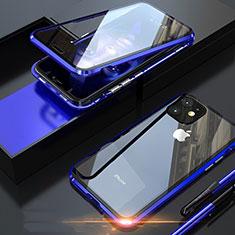 Coque Rebord Bumper Luxe Aluminum Metal Miroir 360 Degres Housse Etui Aimant M05 pour Apple iPhone 11 Pro Max Bleu