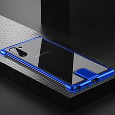 Coque Rebord Bumper Luxe Aluminum Metal Miroir 360 Degres Housse Etui Aimant M05 pour Samsung Galaxy Note 10 Bleu