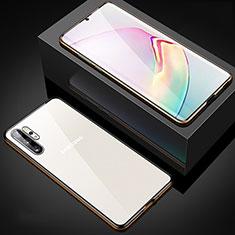 Coque Rebord Bumper Luxe Aluminum Metal Miroir 360 Degres Housse Etui Aimant M05 pour Samsung Galaxy Note 10 Plus 5G Or