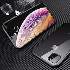 Coque Rebord Bumper Luxe Aluminum Metal Miroir 360 Degres Housse Etui Aimant M06 pour Apple iPhone 11 Pro Max Noir