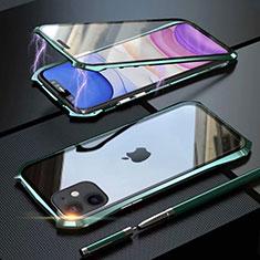 Coque Rebord Bumper Luxe Aluminum Metal Miroir 360 Degres Housse Etui Aimant M06 pour Apple iPhone 11 Vert