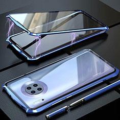 Coque Rebord Bumper Luxe Aluminum Metal Miroir 360 Degres Housse Etui Aimant M06 pour Huawei Mate 30 Bleu