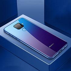 Coque Rebord Bumper Luxe Aluminum Metal Miroir 360 Degres Housse Etui Aimant M06 pour Huawei Mate 30 Lite Bleu