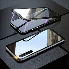 Coque Rebord Bumper Luxe Aluminum Metal Miroir 360 Degres Housse Etui Aimant M06 pour Oppo K5 Noir