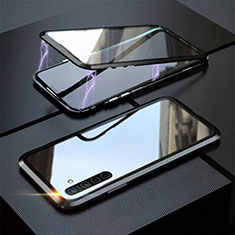 Coque Rebord Bumper Luxe Aluminum Metal Miroir 360 Degres Housse Etui Aimant M06 pour Realme XT Noir