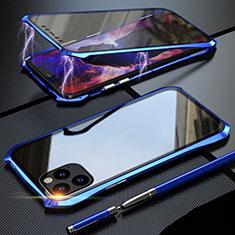 Coque Rebord Bumper Luxe Aluminum Metal Miroir 360 Degres Housse Etui Aimant M07 pour Apple iPhone 11 Pro Max Bleu