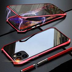 Coque Rebord Bumper Luxe Aluminum Metal Miroir 360 Degres Housse Etui Aimant M07 pour Apple iPhone 11 Pro Rouge