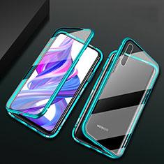 Coque Rebord Bumper Luxe Aluminum Metal Miroir 360 Degres Housse Etui Aimant M07 pour Huawei Y9s Vert