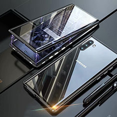 Coque Rebord Bumper Luxe Aluminum Metal Miroir 360 Degres Housse Etui Aimant M07 pour Samsung Galaxy Note 10 Noir