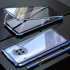 Coque Rebord Bumper Luxe Aluminum Metal Miroir 360 Degres Housse Etui Aimant M08 pour Huawei Mate 30 Bleu