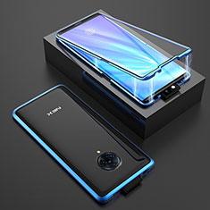 Coque Rebord Bumper Luxe Aluminum Metal Miroir 360 Degres Housse Etui Aimant M08 pour Vivo Nex 3 Bleu
