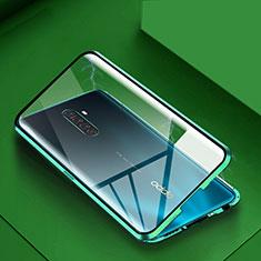 Coque Rebord Bumper Luxe Aluminum Metal Miroir 360 Degres Housse Etui Aimant M09 pour Oppo Reno Ace Vert