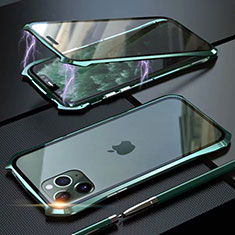 Coque Rebord Bumper Luxe Aluminum Metal Miroir 360 Degres Housse Etui Aimant M10 pour Apple iPhone 11 Pro Max Vert