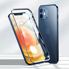 Coque Rebord Bumper Luxe Aluminum Metal Miroir 360 Degres Housse Etui Aimant N01 pour Apple iPhone 12 Bleu