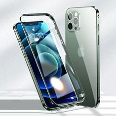 Coque Rebord Bumper Luxe Aluminum Metal Miroir 360 Degres Housse Etui Aimant N01 pour Apple iPhone 12 Pro Vert