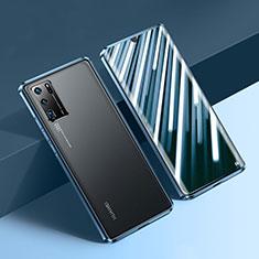 Coque Rebord Bumper Luxe Aluminum Metal Miroir 360 Degres Housse Etui Aimant N01 pour Huawei P30 Pro New Edition Bleu