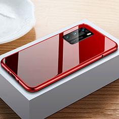 Coque Rebord Bumper Luxe Aluminum Metal Miroir 360 Degres Housse Etui Aimant N01 pour Huawei P40 Rouge et Noir