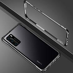 Coque Rebord Bumper Luxe Aluminum Metal Miroir 360 Degres Housse Etui Aimant N02 pour Huawei P40 Noir