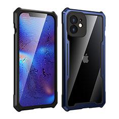 Coque Rebord Bumper Luxe Aluminum Metal Miroir 360 Degres Housse Etui Aimant pour Apple iPhone 12 Bleu et Noir