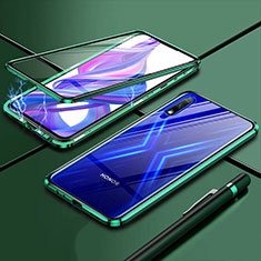 Coque Rebord Bumper Luxe Aluminum Metal Miroir 360 Degres Housse Etui Aimant pour Huawei Enjoy 10 Vert