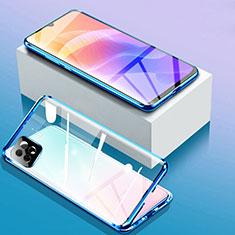 Coque Rebord Bumper Luxe Aluminum Metal Miroir 360 Degres Housse Etui Aimant pour Huawei Enjoy 20 5G Bleu